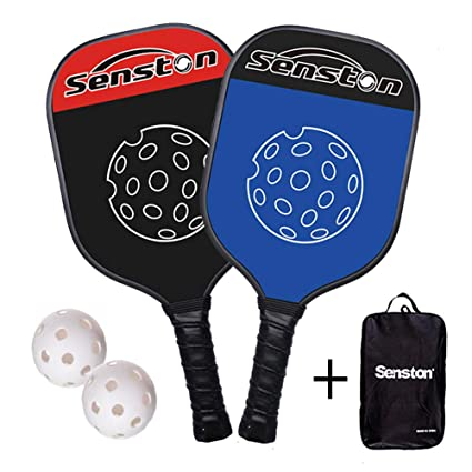 Senston Graphite Pickleball Paddle Carbon Fiber Pickleball Paddle Set Polymer Honeycombed Core Ultra Grip with Neoprene Racket Cover