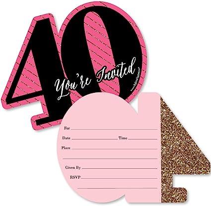 Amazon.com: Chic con forma de 40 cumpleaños, – rosa, negro y ...