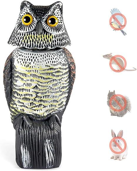 Wing Buho Espantapajaros, Espanta Palomas, Control de Aves, ahuyentador de pajaros, Estatua búho con Cabeza giratoria, Esculturas y estatuas de jardín: Amazon.es: Hogar