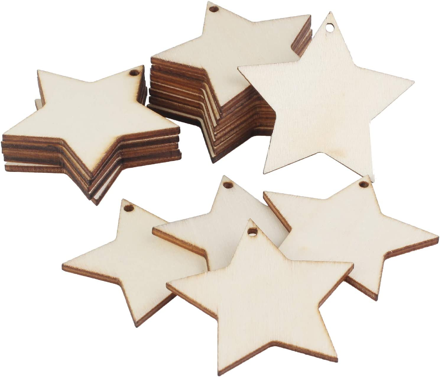 50pcs 1.85 Wooden Love Heart Slices UTOPER Blank Name Tags with Hole Unfinished Wood Cutout Labels Art Craft Pieces for Wedding Party Christmas DIY Projects Card Making