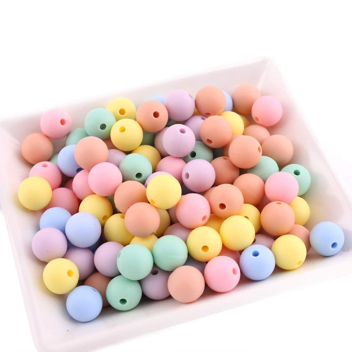 Best for baby 50pcs (12mm) Süßigkeiten Silikonperlen DIY Baby teether Halskette Armband Nippelclip Zubehör Baby spielzeug Geschenk