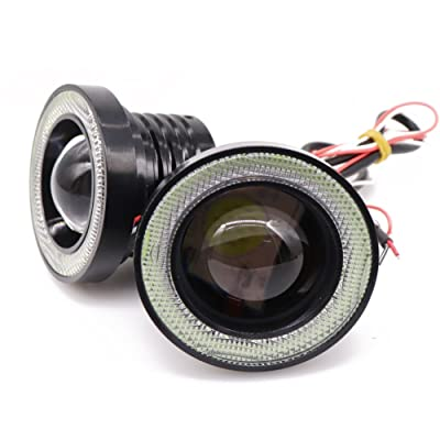 Didieyes 2pcs 2.5in White COB LED Fog Light Projector with Green Halo Ring Angel Daytime Running Light DRL Car Driving Lamps(Green, 2.5inch): Automotive