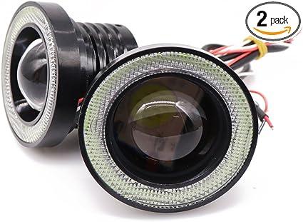 "Pair 2.5/"" Yellow COB LED Fog Light Projector Angel Eye Ring DRL Driving Bulb"