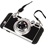 Black Lemon iPhone 5/5S Case, iPhone SE Cute Case, 3D Unique Design Camera Case PC + Silicone Shockproof Hybrid Cover Case with Long Strap Rope (Black)