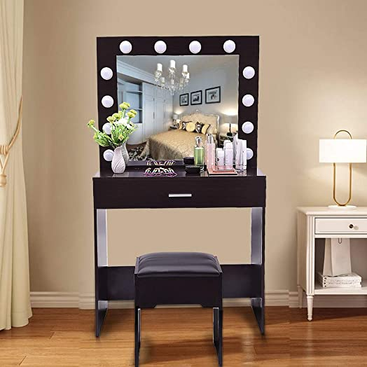 Vanity Set with 12 LED Lights Dresseing Desk Dresser with Mirror and Bench 1 Sliding Drawers, 1 Cushioned Stool for Bedroom, Bathroom US Fast Shipment