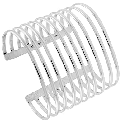 Amazon Com Sterling Silver 10 Strand Domed Wire Cuff Bracelet