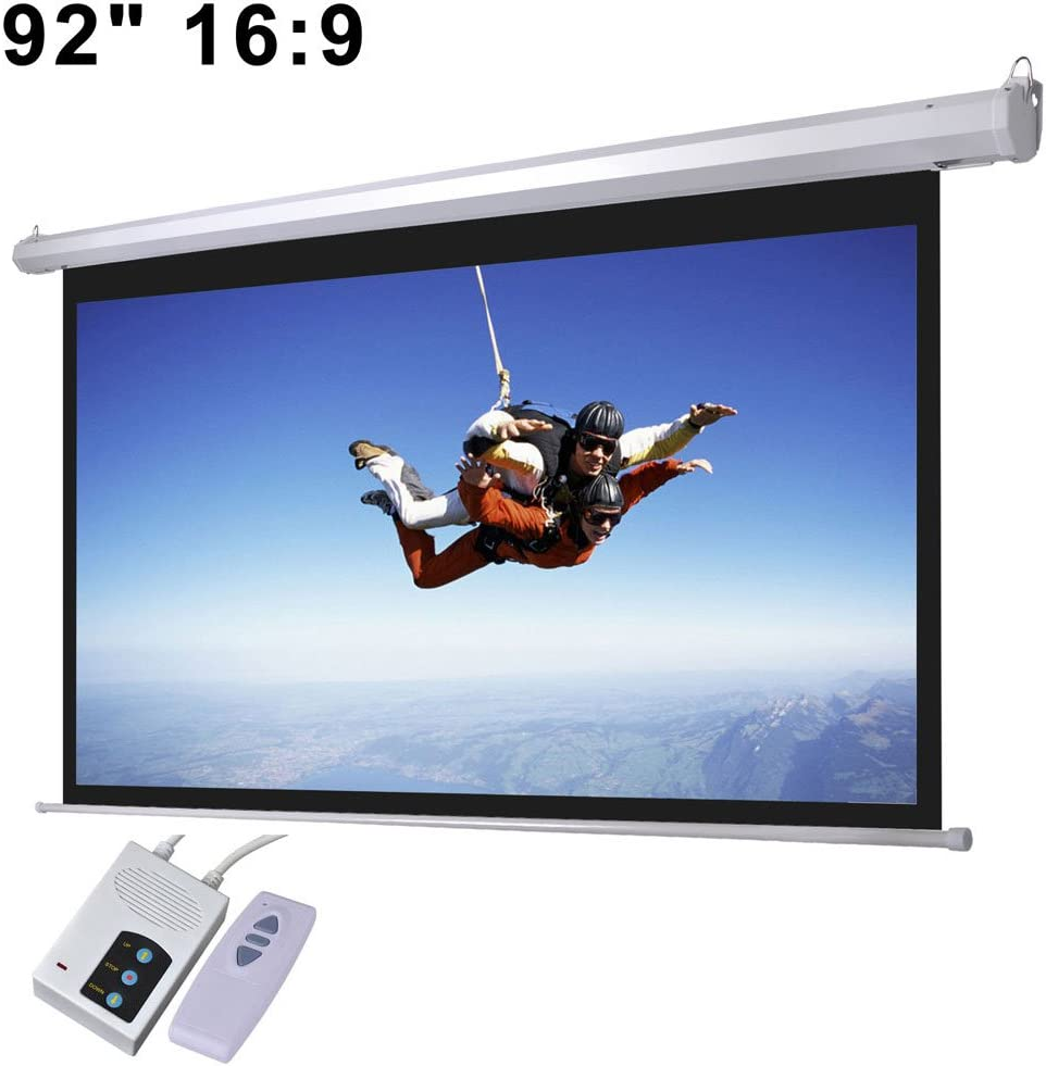 """92"""" 16:9 Aspect Ratio Electric Motorized Mountable Projector Screen with Remote Control"""