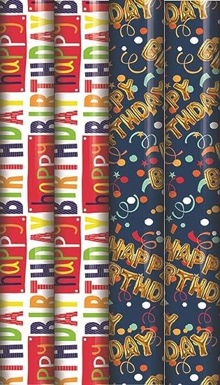 12m. Papel de regalo de cumpleaños feliz - 4x3m Diseños ...