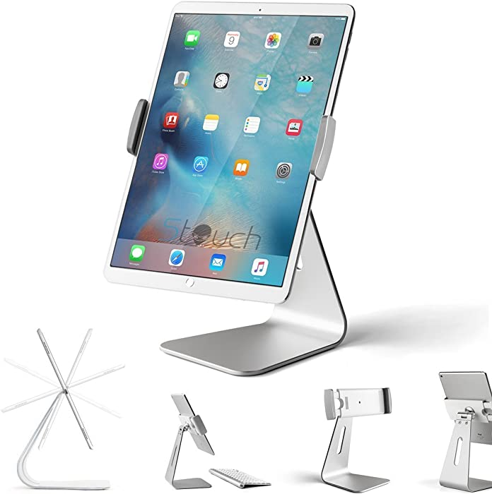 "Stouch iPad Pro Tablet Holder Stand, 360° Rotatable Aluminum Alloy Desktop Holder Tablet Stand Compatible for Samsung Galaxy Tab Pro S iPad Pro10.5 9.7"" 12.9'' iPad Air Surface Pro 4 Kiosk POS Stand"