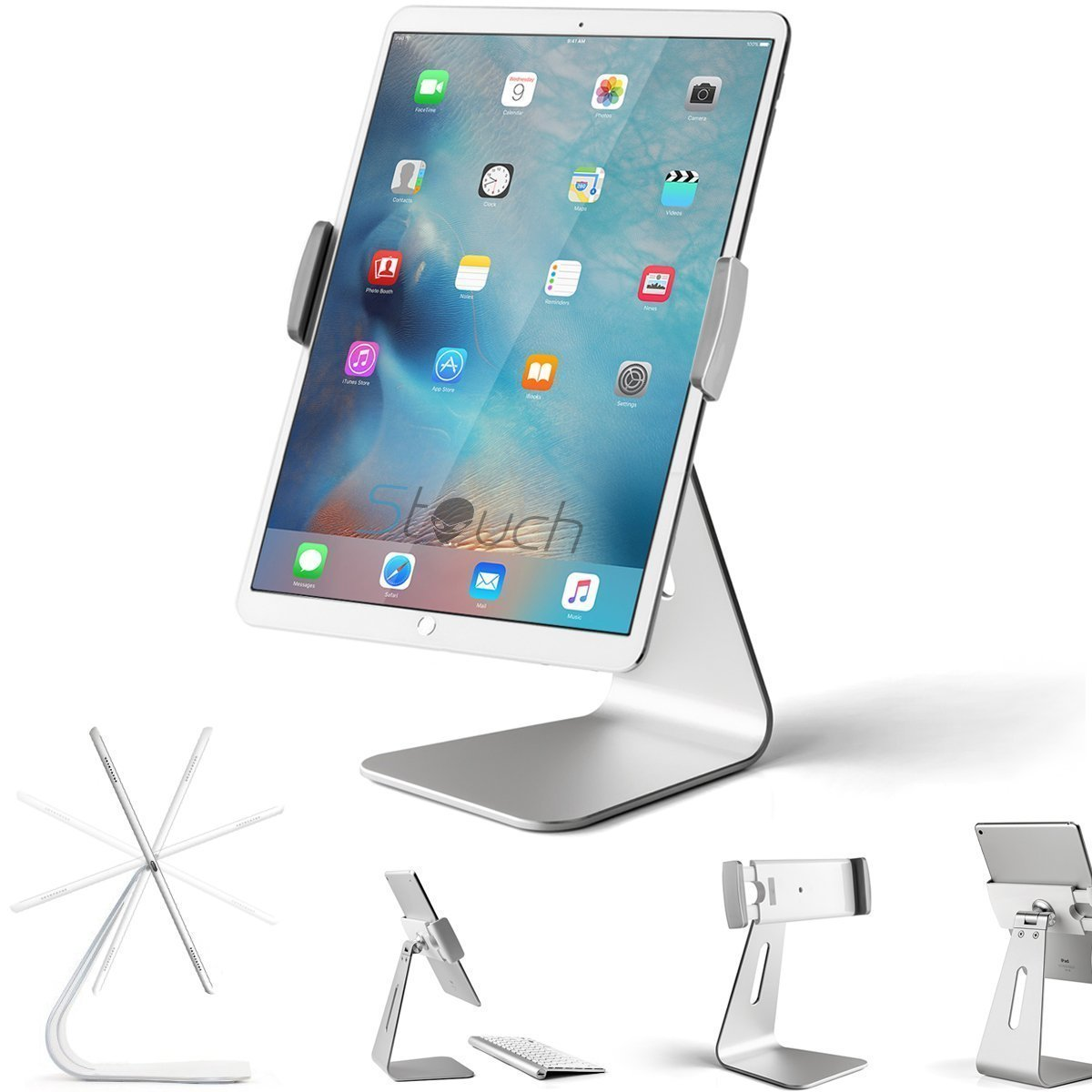 Stouch iPad Pro Tablet Holder Stand, 360° Rotatable Aluminum Alloy Desktop Holder Tablet Stand Compatible for Samsung Galaxy Tab Pro S iPad Pro10.5 9.7'' 12.9'' iPad Air Surface Pro 4 Kiosk POS Stand by Stouchi