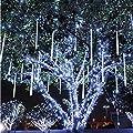 Lovinland 240 Led Meteor Shower Rain Light 30 cm 8 Pcs Tube Raindrop Decor Light Waterproof for Christmas New Year Party Tree Decor