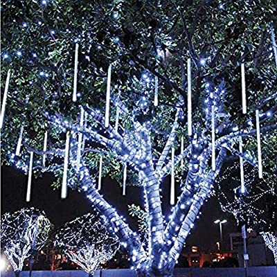 Lovinland 240 Led Meteor Shower Rain Light 50 cm 8 Pcs Tube Raindrop Decor Light Waterproof for Christmas New Year Party Tree Decor