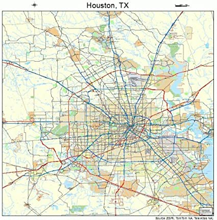 Map Of Houston Texas Amazon.com: Large Street & Road Map of Houston, Texas TX   Printed