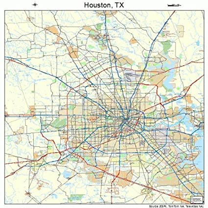 Map Houston Tx Amazon.com: Large Street & Road Map of Houston, Texas TX   Printed