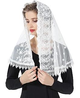 Mantilla De Encaje Española Mujer Capilla Velo Pañuelo de Iglesia Católica Bordado Chal Bufanda Negra Blanca V99: Amazon.es: Ropa y accesorios