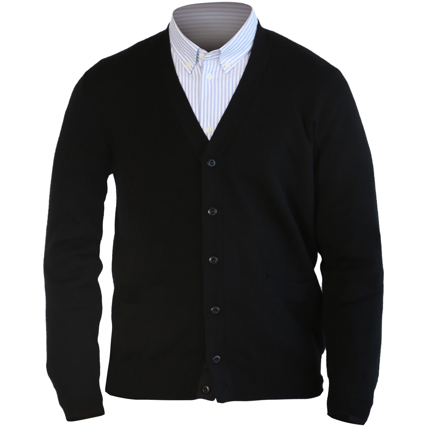 MARMO DI CARRARA Mens 100% Merino Wool Cardigan Sweater Black Knitted Classic Fit Button UP