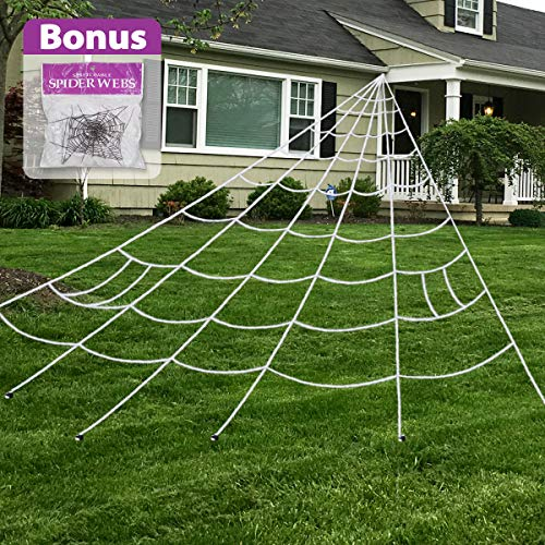 Pawliss Halloween Decorations Outdoor, Giant Dense Spider Web with Super Stretch Cobweb Set Yard Decor, White, 16 feet]()
