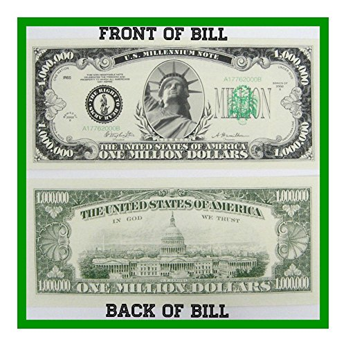 (50) ONE MILLION Dollar Novelty Paper Fake Money Bills - Quality & Looks Real NOVELTY
