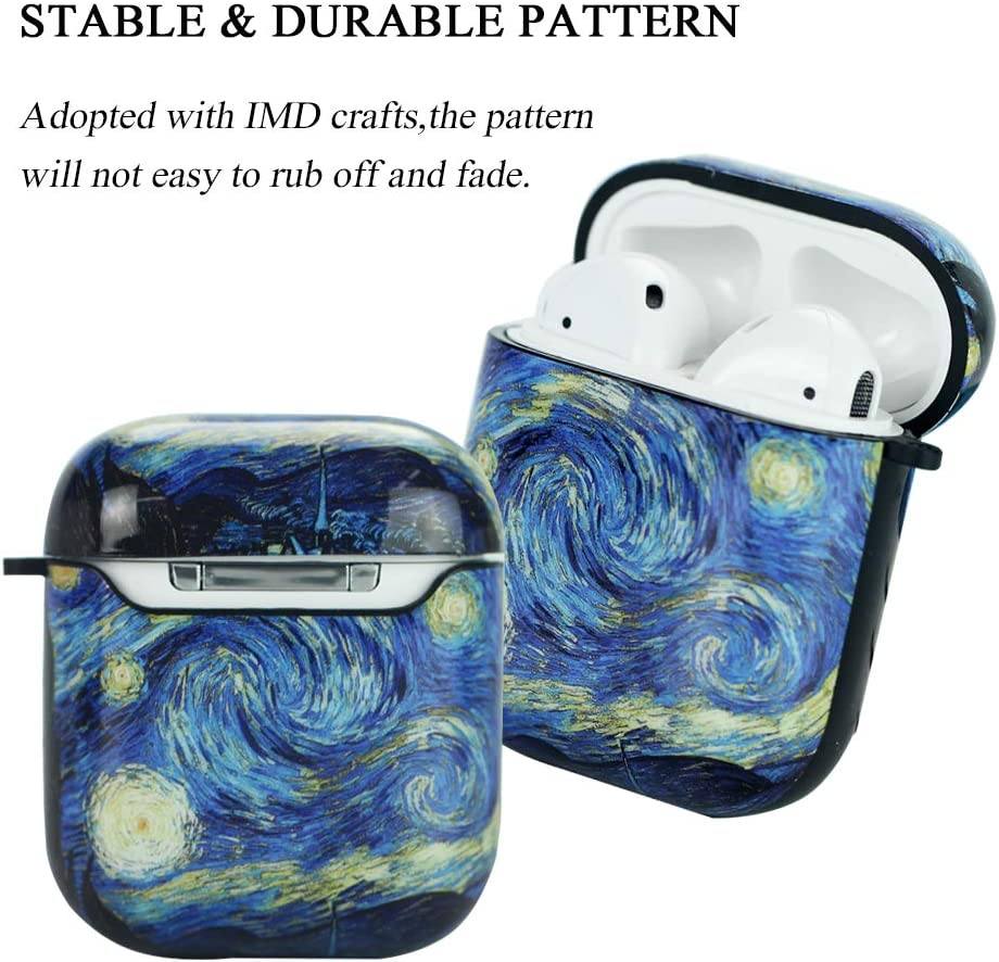 2-Van Gogh QIELIZI 2 Pack AirPods case,Airpods Silicone Portable Protective Shockproof Case Cover for Airpods 2 /& 1 with Holding Strap