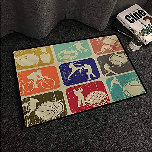 - HCCJLCKS Non-Slip Door mat Sports Assorted Sports Banners Vintage Grunge Effect Tennis Soccer Bowling Sports Pub Theme Non-Slip Door mat pad Machine can be Washed W31 xL47 Multicolor