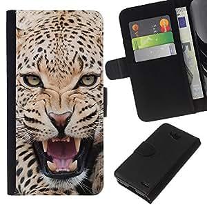 - CAT ROAR LEOPARD BIG ANIMAL FEROCIOUS - - Prima caja de la PU billetera de cuero con ranuras para tarjetas, efectivo desmontable correa para l Funny House FOR LG OPTIMUS L90