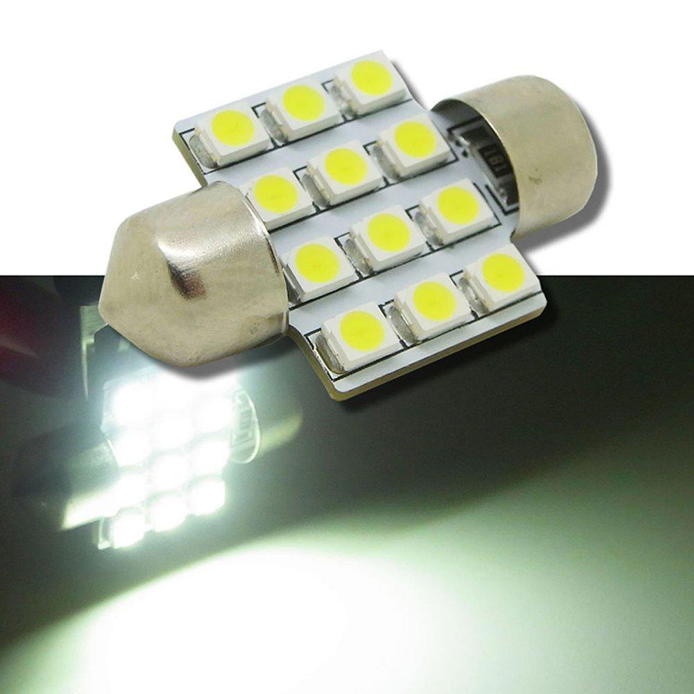 White 12 SMD 5050 LED Bulbs 31MM Epistar Dome Map Interior Light Lamp DC 12V