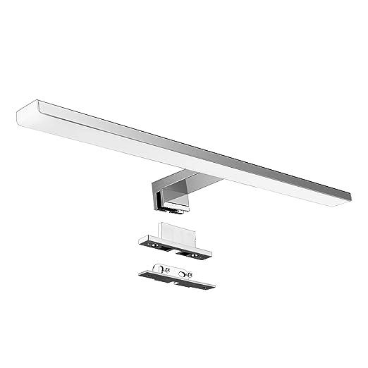 LED Spiegelleuchte Bad Spiegel Lampe 10W 820lm 50cm Neutralweiß 4000K  Aourow,3 in 1 spiegellampe Badezimmer/Badleuchte/IP44  230V,Nickel-Chromstahl LED ...