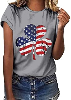 Womens American Flag Print T Shirts Crewneck Short Sleeve Basic Tee Blouse Shamrock Patriotic Soft Breathable Summer Casual Loose Tops