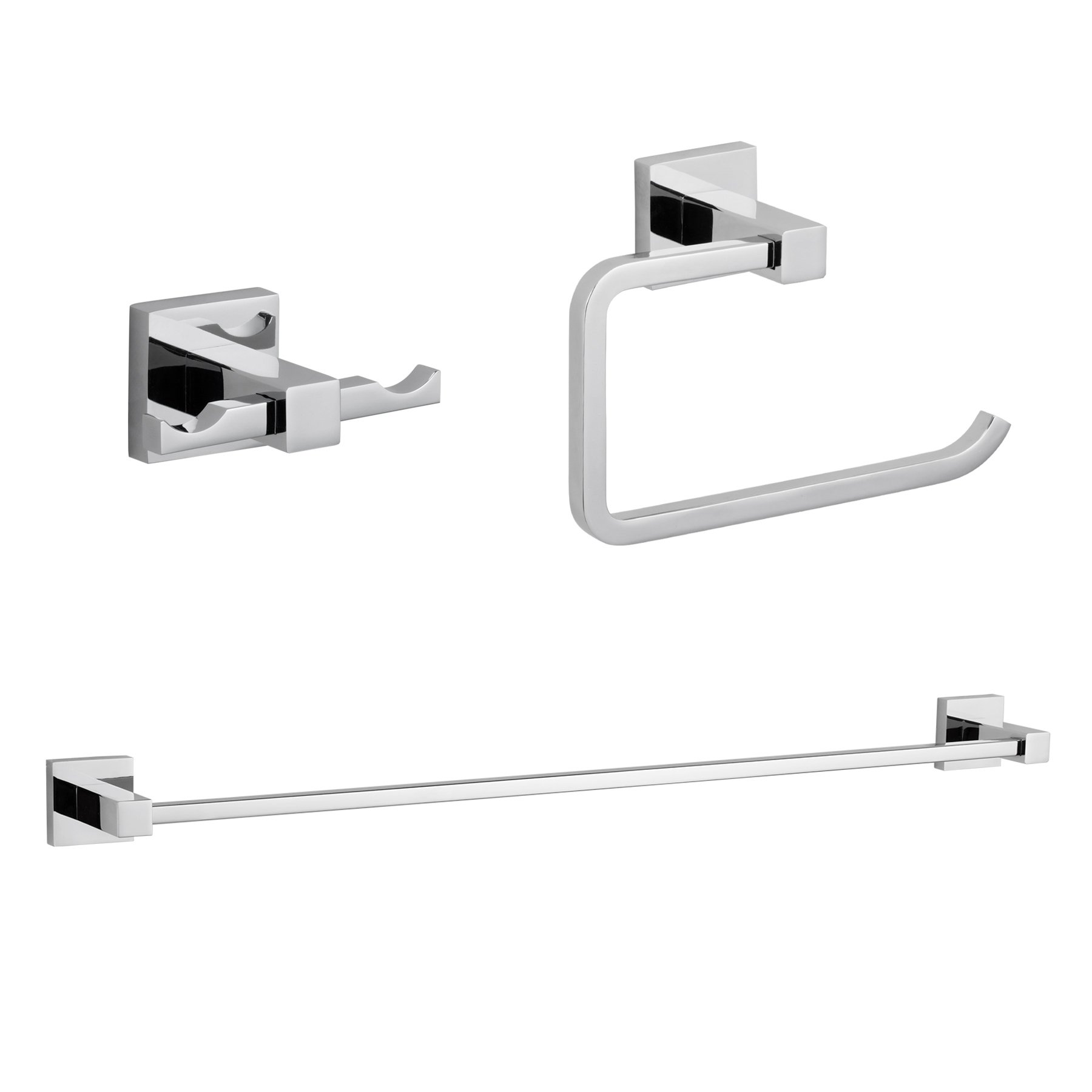 MAYKKE Zane 3-Piece Bathroom Hardware Essentials Accessory Set | 25'' Towel Bar, Double Robe Towel Hook, Toilet Paper Holder | For Bath, Shower, Kitchen | Polished Chrome, XYA1000891
