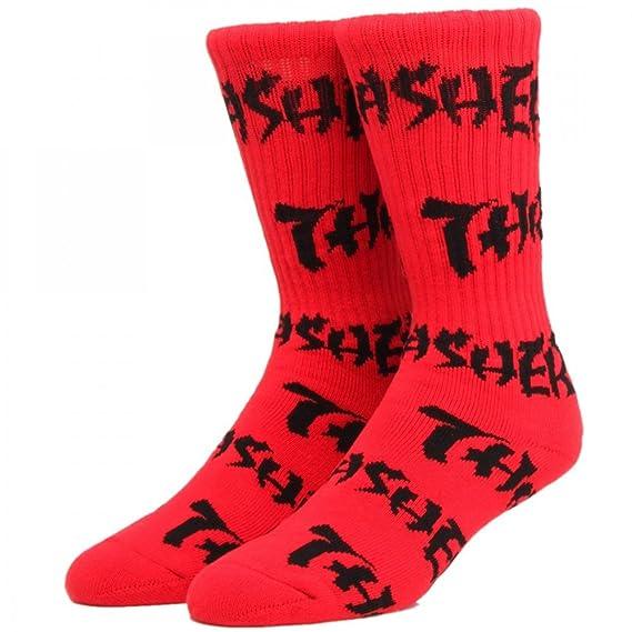 HUF x Thrasher - Logo Calcetines En Rojo - Limited Edition - Tabla de skate (calcetines: Amazon.es: Ropa y accesorios