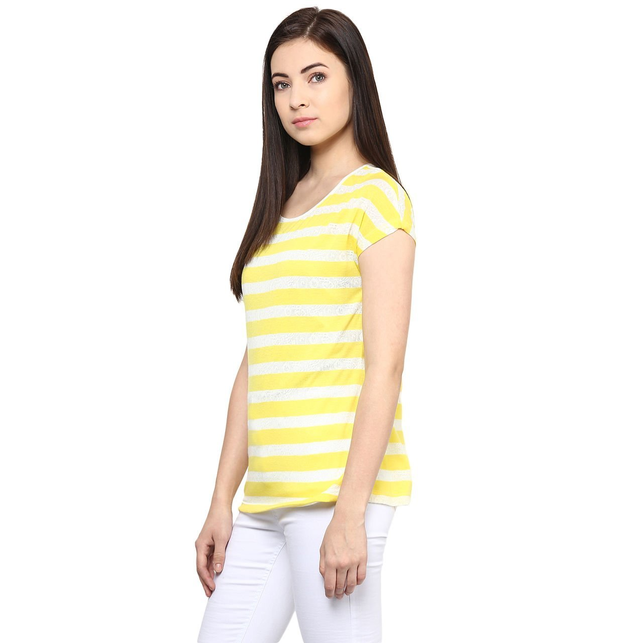 0b1cc3ff9a38b7 Honey by Pantaloons Women's Striped Regular Fit T-Shirt  (110006293_Yellow_Large): Amazon.in: Clothing & Accessories