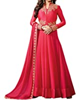 Ethnic Yard Women's Georgette Dress Material (EY1_F1171_Free Size_Red)