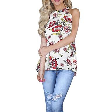 f274fe1771e3b BCDshop 2018 New!Women Summer Beach Casual Floral Tank Tops Halter Shirt  Sleeveless Blouse (