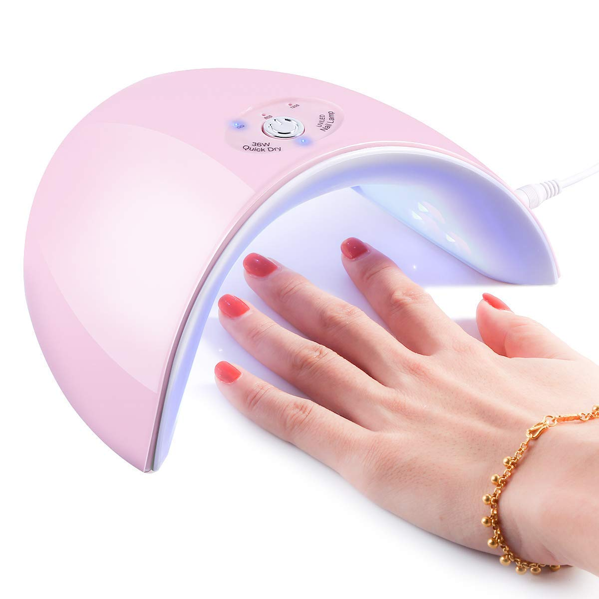 36W UV Light Nail Lamp, Portable 12 LED Nail Curing Lamp Nail Dryer with LED Display, Nail Art Tools with 60s/120s Timer Setting for Manicure Gel Nail Polish Fingernail & Toenail Gel (White) Yinuoday
