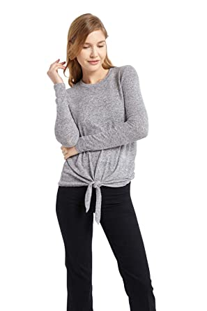 Women's Heathered Knit Long Sleeve Tie Front Knot Sweater Top USA Grey S