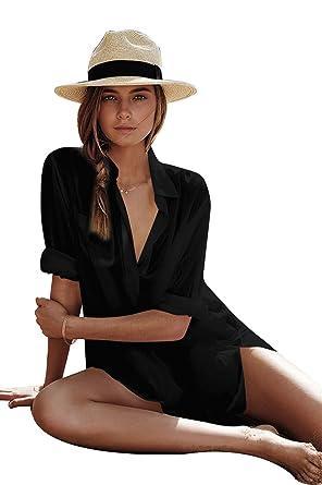 Damen Strandkleid aus Baumwolle mit reizvollem V-Ausschnitt und sexy  Häkellook über den Bikini oder