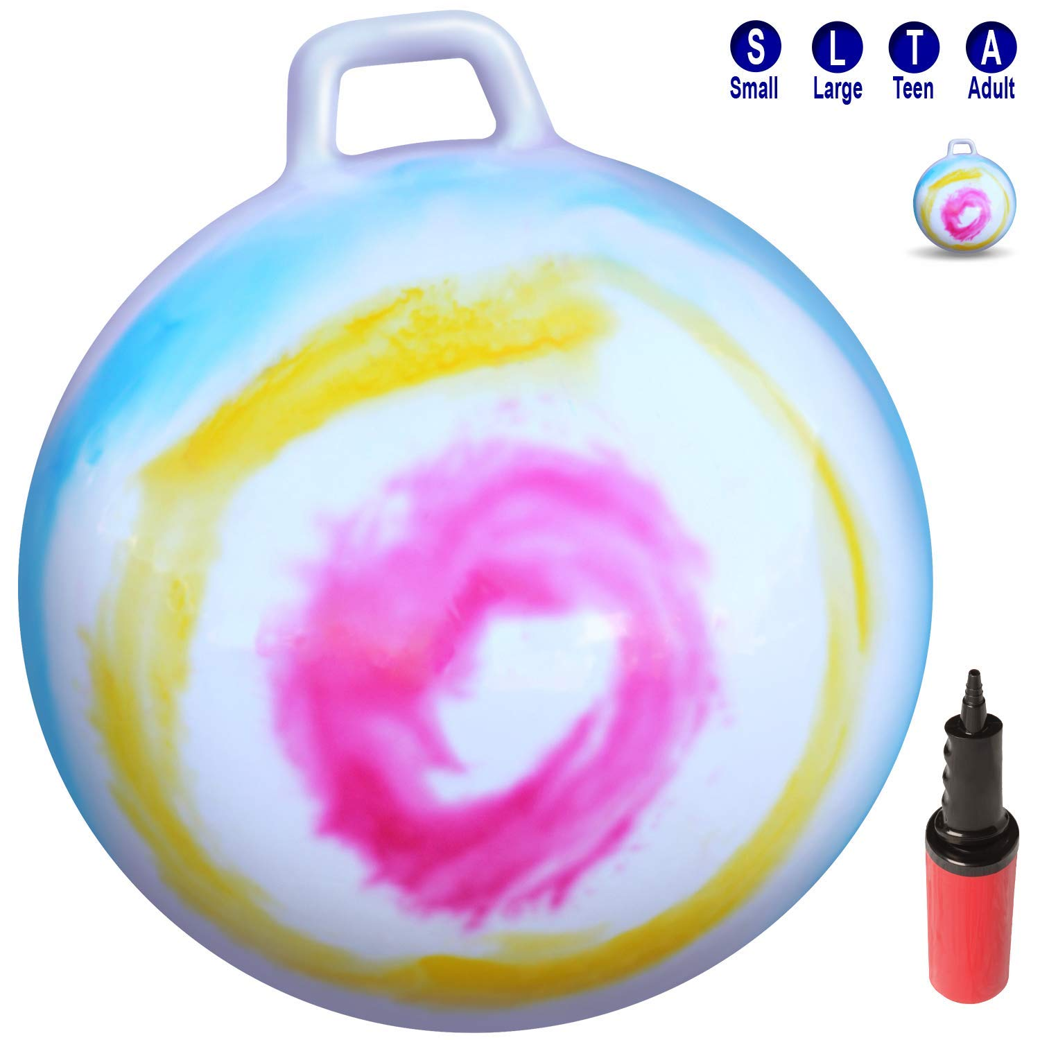 WALIKI Toys Hopper Ball for Kids Ages 3-6 (Hippity Hop Ball, Hopping Ball, Bouncy Ball with Handles, Sit & Bounce, Kangaroo Bouncer, Jumping Ball, 18 Inches, Rainbow Tie Dye, Pump Included)