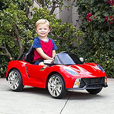 Best Choice Products 12V Kids Battery Powered Remote Control Electric RC Ride On Car w/ LED Lights, MP3, AUX - Red: Toys & Games