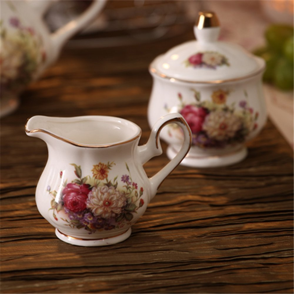 ufengke White And Red Rose Flower 15 Pieces European Ceramic Tea Set Tea Service Coffee Set by ufengke®-ts (Image #6)