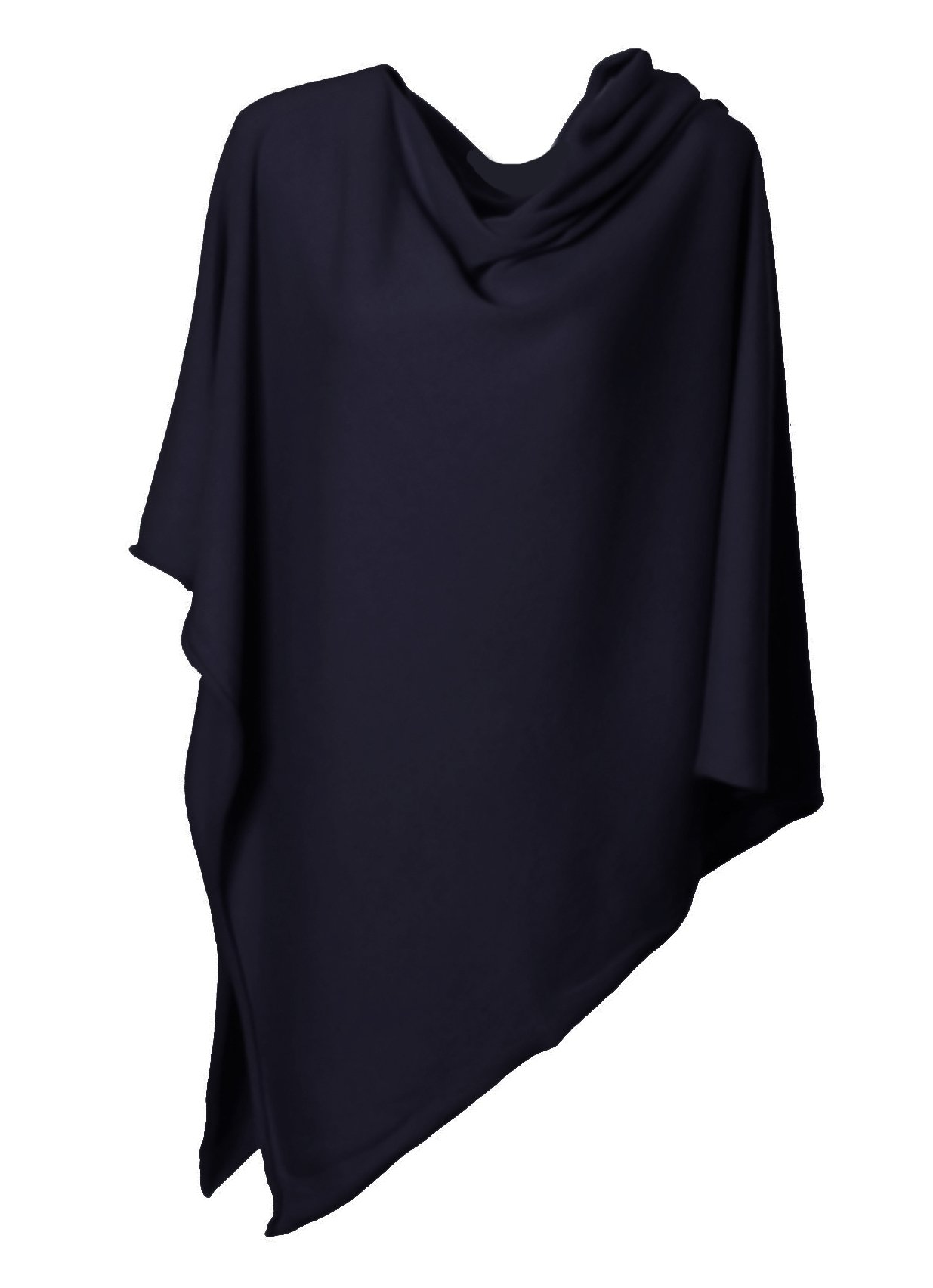 Anna Kristine Asymmetrical 100% Cashmere Draped Poncho Topper - Navy Blue