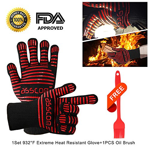 """Discover Bargain BBQ Gloves,Asscom BBQ Grilling Cooking Gloves, 932 °F Extreme Heat Resistant Oven Mitts-14"""" Long for Extra Forearm Protection+1pcs Silicone oil Brush"""