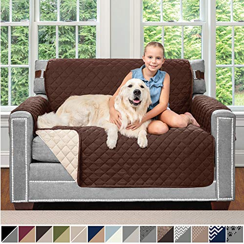 "Sofa Shield Original Patent Pending Reversible Chair and a Half Slipcover, Dogs, 2"" Strap/Hook, Seat Width Up to 48"", Furniture Protector Washable, Slip Cover Throw for Pets, Kids (Chocolate/Beige)"