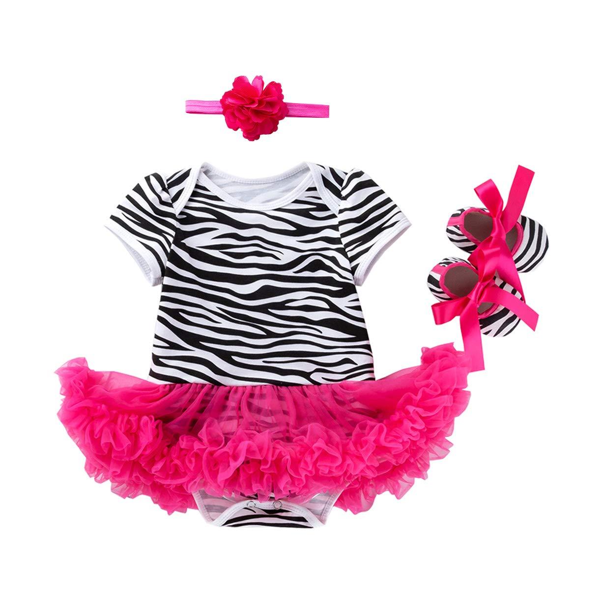 BabyPreg Beb/é Infantil Leopardo Cebra Vestido Estampado Tut/ú de algod/ón Zapatos de Vestir Diadema 3 Piezas