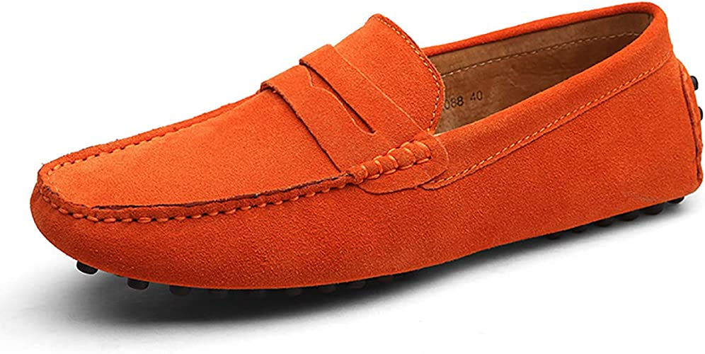 Mens Suede Leather Penny Loafers