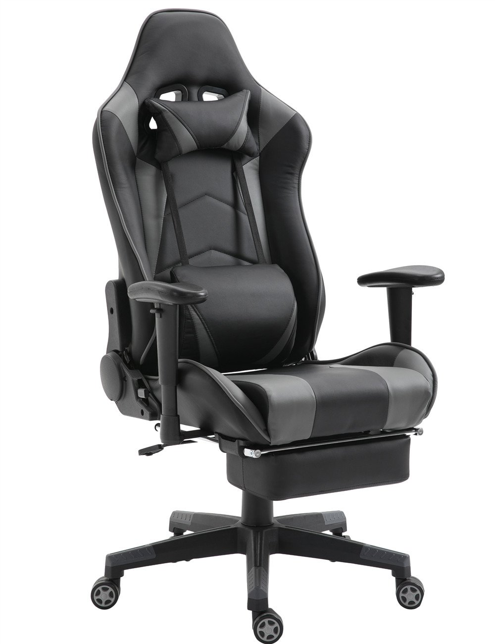 Gaming Chair High Back Ergonomic Racing Chair with Footrest Adjustable Height Swivel Office Chair with Headrest Lumbar Support (Black) SHIONOOM