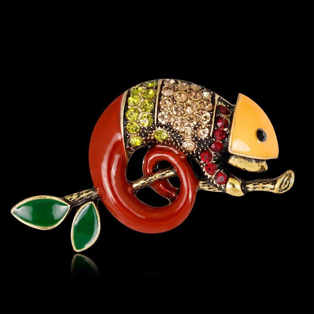 Large Size Rhinestone Animal Brooch Jewelry Brooch Pins for Women Girls EmmaGreen Animal Enamel Rhinestone Brooch Pin