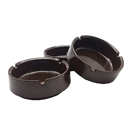 Amazon com: HERF Plastic Melamine Ashtrays Dark-Brown, 3-Pack, S-3 1