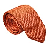 Mens Bright Orange Knit Ties Vintage Woven Casual 2'' Handmade Necktie for Gifts