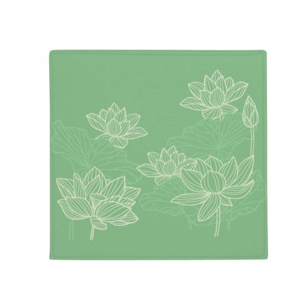DIYthinker Lotus Flower Line Flower Plant Anti-Slip Floor Pet Mat Square Home Kitchen Door 80Cm Gift