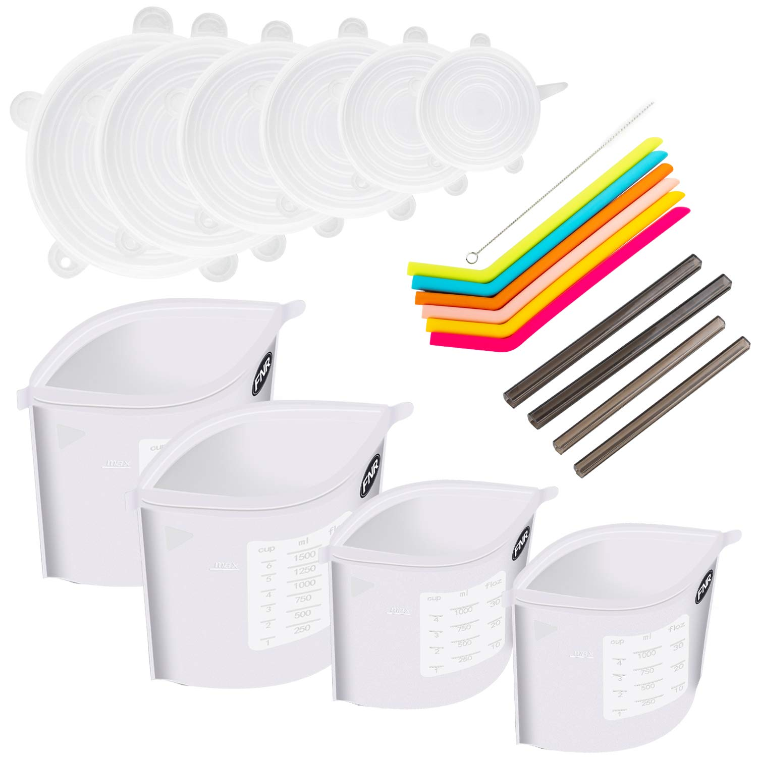 Reusable Clear Silicone Food Bags (4pcs) (2 50 OZ and 2 30 OZ sizes) and Stretch Lids (6 different sizes) and a bonus set of 6 Reusable Jumbo Silicone Straws. Bag for Freezer, Cooking, Sous Vide.